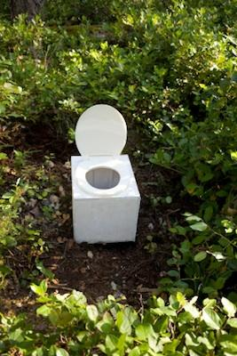 Outdoor portable bucket type toilet.