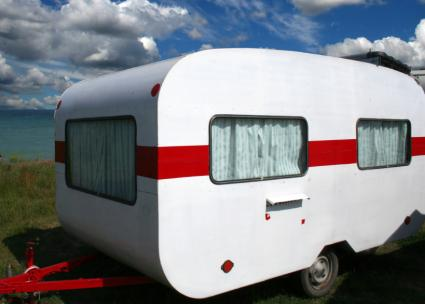 Red and White Travel Trailer