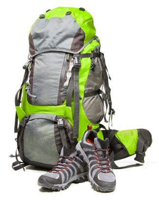 backpack and hiking shoes