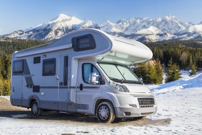 Motor home in the snow