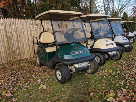 Golf carts at Bayley's Camping Resort
