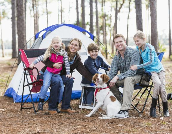 Family camp in front of tent