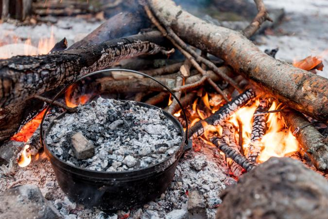 Dutch oven on campfire