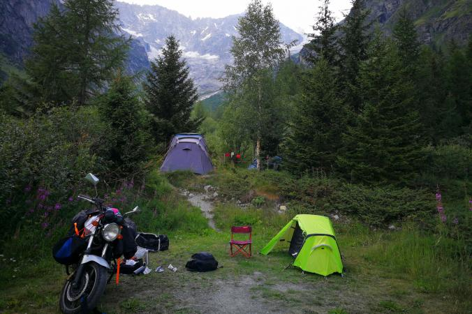Camping with motorcycle tent