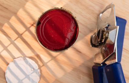 Open can of tomato paste