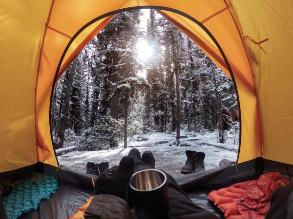Camping with hand holding cup in yellow tent with snow in pine forest
