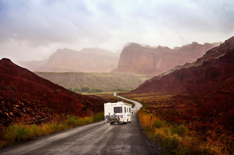 Motor home on the road