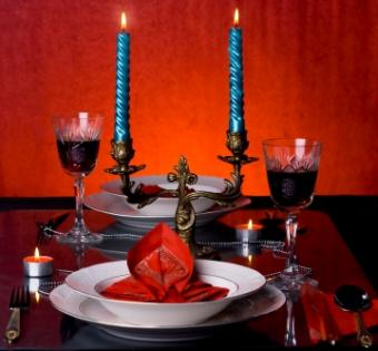 Romantic candlelit dinner table is ideal for love.