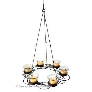 6 Clear Glass Votive Candle Holder Hanging Chandelier