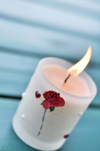 Embossed Rose Candle