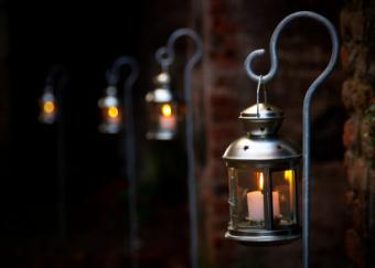 row of hanging lanterns