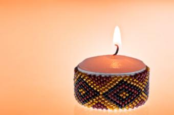 beaded candle holder
