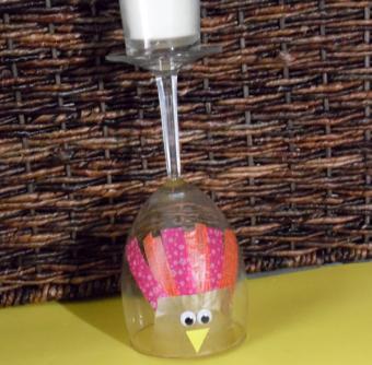 wine glass turkey candle holder