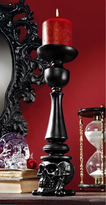 Black Skull Sculptural Candle Stick