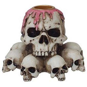 Multiple skulls resin candle holder