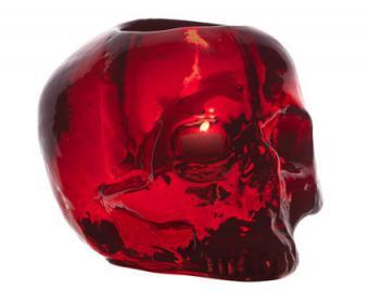Red Still Life Skull Candle Holder