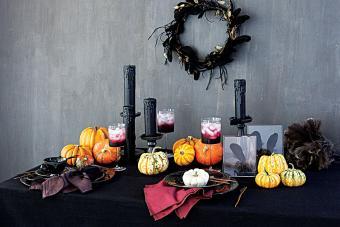 Painted black candlesticks