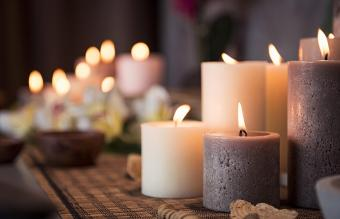 Setting with aromatic candles