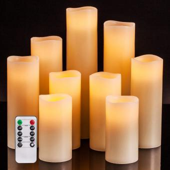 Set of 9 Ivory Real Wax Pillar LED Candles