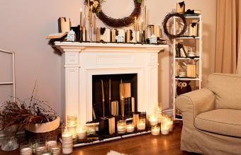 Fireplace Library by Candlelight