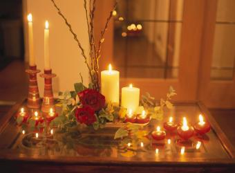 Table set for Christmas with candles and centerpiece