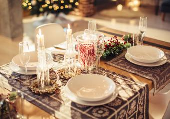 Christmas decorated table