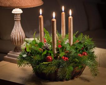 Christmas gold taper candle decoration