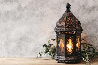 Black ornamental Moroccan, Arabic lantern