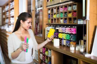 Woman buying soy candles
