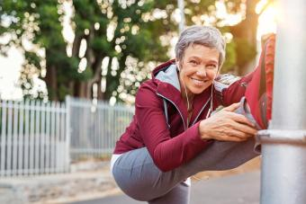 woman warming up before jogging