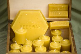Beeswax and candles in a box