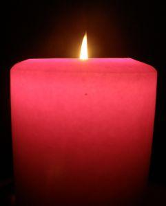 Red pillar candle