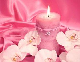 Pink candles have romantic symbolism.