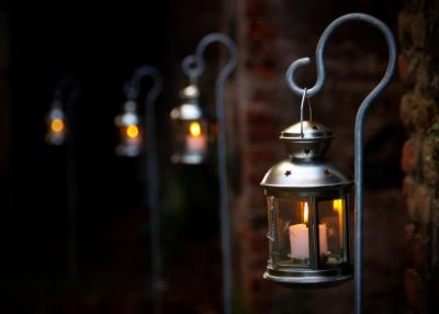 Outdoor candle lanterns row of hanging lanterns aloadofball Images
