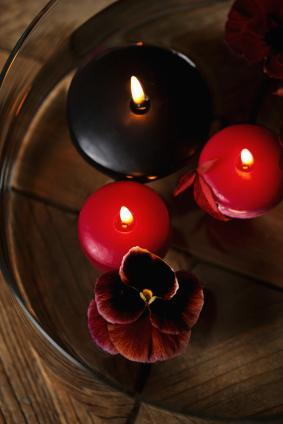 romantic floating candles