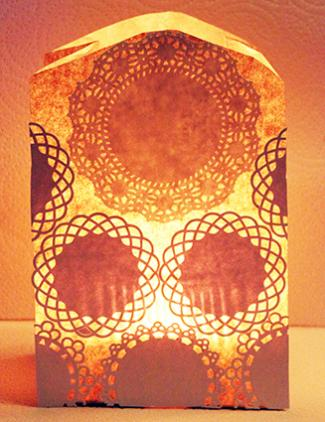 Lace Paper Bag Candle Holder