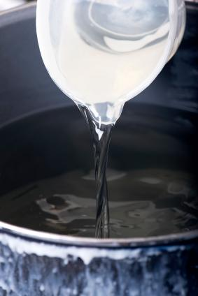 pouring melted wax