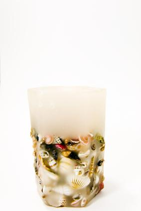 embedded seashells in candle wax
