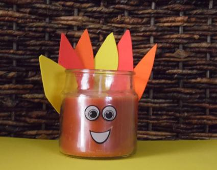 foam turkey candle craft