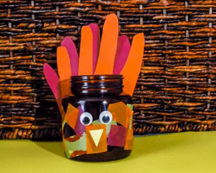 handprint turkey candle craft