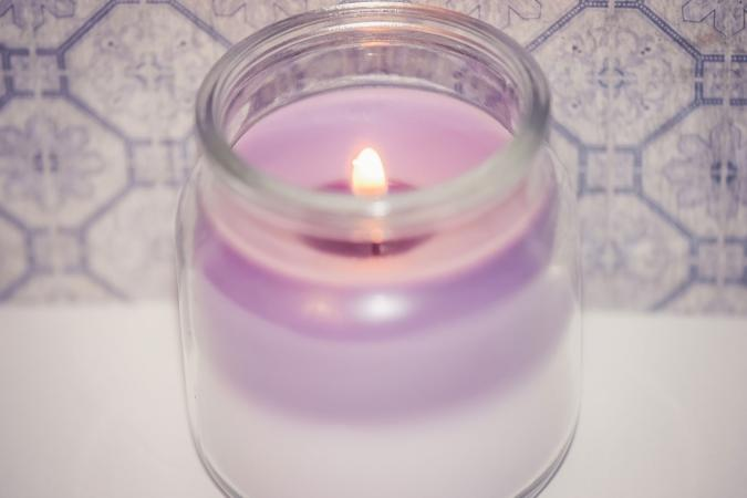 Lavender Tea Light Candle On Table