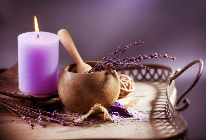 Purple candle with lavender