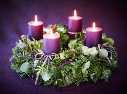 Christmas advent wreath with candles