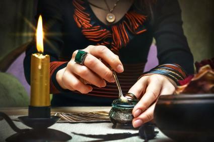 Tarot cards on fortune teller desk table