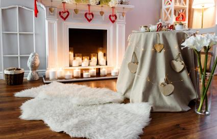 Valentine's Day Fireplace Candle Decorations