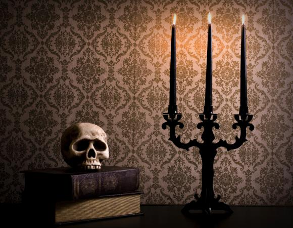 Halloween skull and candelabra with taper candles