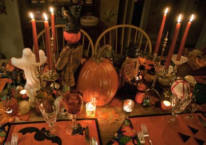 Candlelit Halloween Table Setting