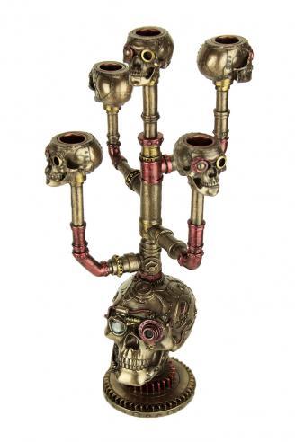 Gothic Steampunk Skull Cast Bronze 5 Stick Candelabra