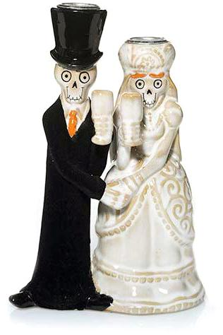 Bride And Groom Halloween Taper Candle Holder