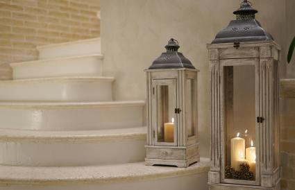 Candles In Lantern On Staircase